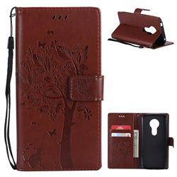 Embossing Butterfly Tree Leather Wallet Case for Motorola Moto E5 - Brown