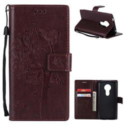Embossing Butterfly Tree Leather Wallet Case for Motorola Moto E5 - Coffee