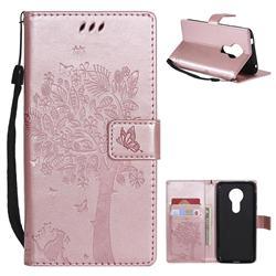 Embossing Butterfly Tree Leather Wallet Case for Motorola Moto E5 - Rose Pink