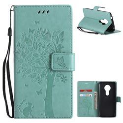 Embossing Butterfly Tree Leather Wallet Case for Motorola Moto E5 - Cyan