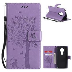 Embossing Butterfly Tree Leather Wallet Case for Motorola Moto E5 - Violet