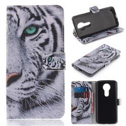 White Tiger PU Leather Wallet Case for Motorola Moto E5