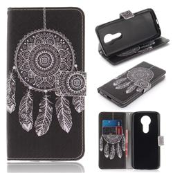 Black Wind Chimes PU Leather Wallet Case for Motorola Moto E5
