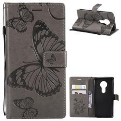 Embossing 3D Butterfly Leather Wallet Case for Motorola Moto E5 - Gray