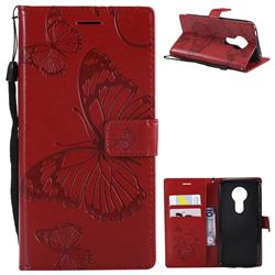Embossing 3D Butterfly Leather Wallet Case for Motorola Moto E5 - Red