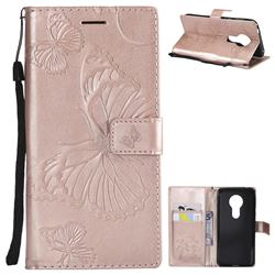 Embossing 3D Butterfly Leather Wallet Case for Motorola Moto E5 - Rose Gold