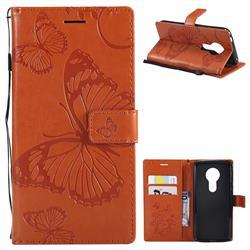 Embossing 3D Butterfly Leather Wallet Case for Motorola Moto E5 - Orange
