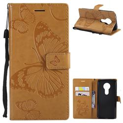 Embossing 3D Butterfly Leather Wallet Case for Motorola Moto E5 - Yellow
