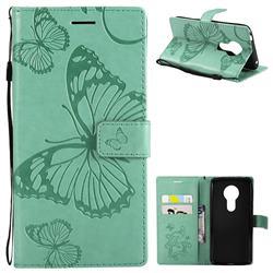Embossing 3D Butterfly Leather Wallet Case for Motorola Moto E5 - Green