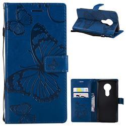 Embossing 3D Butterfly Leather Wallet Case for Motorola Moto E5 - Blue