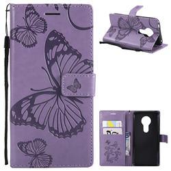 Embossing 3D Butterfly Leather Wallet Case for Motorola Moto E5 - Purple