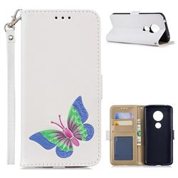 Imprint Embossing Butterfly Leather Wallet Case for Motorola Moto E5 - White
