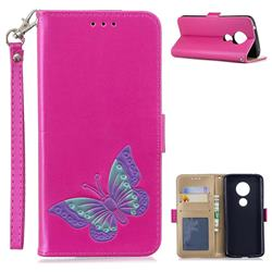 Imprint Embossing Butterfly Leather Wallet Case for Motorola Moto E5 - Rose Red