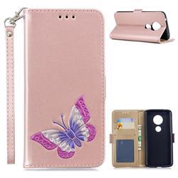 Imprint Embossing Butterfly Leather Wallet Case for Motorola Moto E5 - Rose Gold