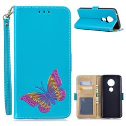 Imprint Embossing Butterfly Leather Wallet Case for Motorola Moto E5 - Sky Blue