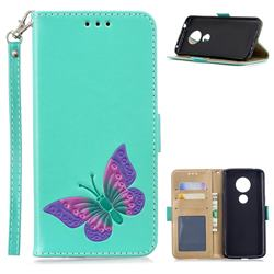 Imprint Embossing Butterfly Leather Wallet Case for Motorola Moto E5 - Mint Green