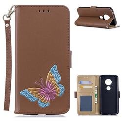 Imprint Embossing Butterfly Leather Wallet Case for Motorola Moto E5 - Brown