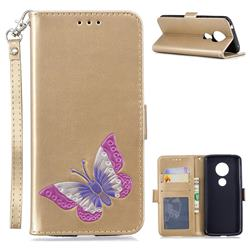 Imprint Embossing Butterfly Leather Wallet Case for Motorola Moto E5 - Golden