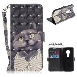 Cat Embrace 3D Painted Leather Wallet Phone Case for Motorola Moto E5