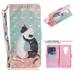 Black and White Cat 3D Painted Leather Wallet Phone Case for Motorola Moto E5