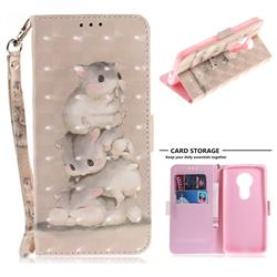 Three Squirrels 3D Painted Leather Wallet Phone Case for Motorola Moto E5