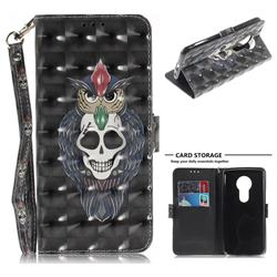 Skull Cat 3D Painted Leather Wallet Phone Case for Motorola Moto E5