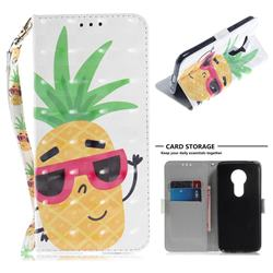 Pineapple Glasses 3D Painted Leather Wallet Phone Case for Motorola Moto E5