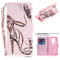 Butterfly High Heels 3D Painted Leather Wallet Phone Case for Motorola Moto E5