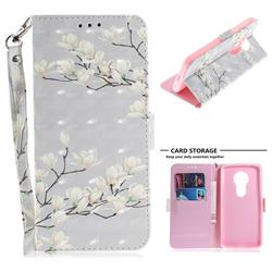 Magnolia Flower 3D Painted Leather Wallet Phone Case for Motorola Moto E5