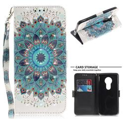 Peacock Mandala 3D Painted Leather Wallet Phone Case for Motorola Moto E5