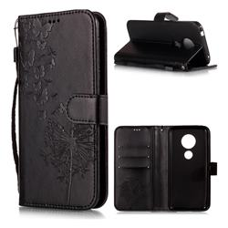Intricate Embossing Dandelion Butterfly Leather Wallet Case for Motorola Moto E5 - Black