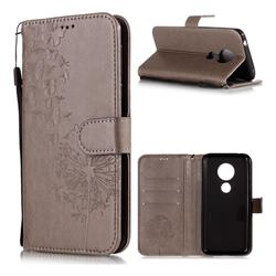 Intricate Embossing Dandelion Butterfly Leather Wallet Case for Motorola Moto E5 - Gray