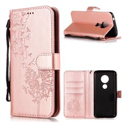 Intricate Embossing Dandelion Butterfly Leather Wallet Case for Motorola Moto E5 - Rose Gold