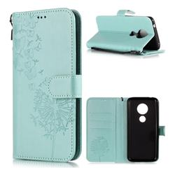 Intricate Embossing Dandelion Butterfly Leather Wallet Case for Motorola Moto E5 - Green
