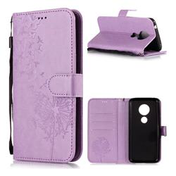 Intricate Embossing Dandelion Butterfly Leather Wallet Case for Motorola Moto E5 - Purple