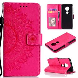 Intricate Embossing Datura Leather Wallet Case for Motorola Moto E5 - Rose Red