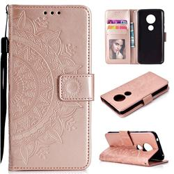 Intricate Embossing Datura Leather Wallet Case for Motorola Moto E5 - Rose Gold