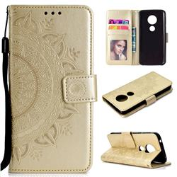 Intricate Embossing Datura Leather Wallet Case for Motorola Moto E5 - Golden