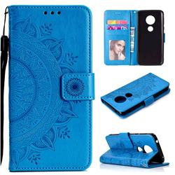 Intricate Embossing Datura Leather Wallet Case for Motorola Moto E5 - Blue