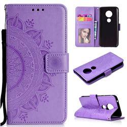 Intricate Embossing Datura Leather Wallet Case for Motorola Moto E5 - Purple