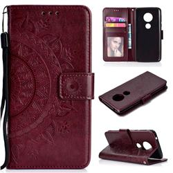 Intricate Embossing Datura Leather Wallet Case for Motorola Moto E5 - Brown