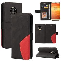 Luxury Two-color Stitching Leather Wallet Case Cover for Motorola Moto E5 - Black
