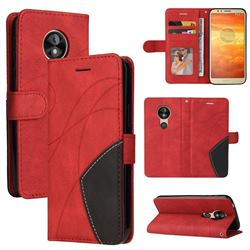 Luxury Two-color Stitching Leather Wallet Case Cover for Motorola Moto E5 - Red