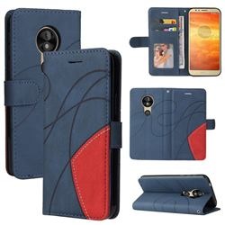 Luxury Two-color Stitching Leather Wallet Case Cover for Motorola Moto E5 - Blue