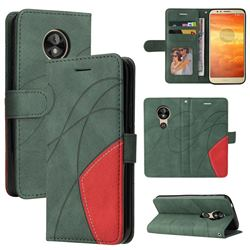 Luxury Two-color Stitching Leather Wallet Case Cover for Motorola Moto E5 - Green