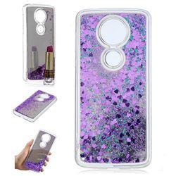 Glitter Sand Mirror Quicksand Dynamic Liquid Star TPU Case for Motorola Moto E5 Plus - Purple