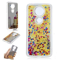 Glitter Sand Mirror Quicksand Dynamic Liquid Star TPU Case for Motorola Moto E5 Plus - Yellow