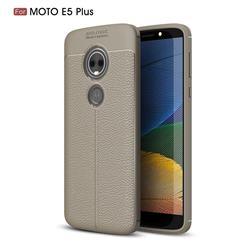 Luxury Auto Focus Litchi Texture Silicone TPU Back Cover for Motorola Moto E5 Plus - Gray