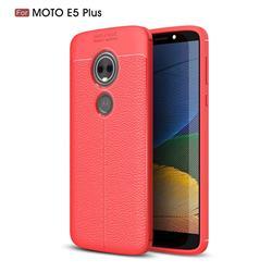 Luxury Auto Focus Litchi Texture Silicone TPU Back Cover for Motorola Moto E5 Plus - Red