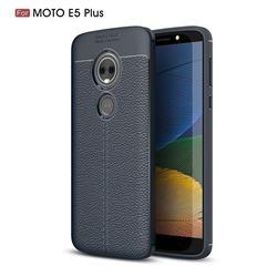 Luxury Auto Focus Litchi Texture Silicone TPU Back Cover for Motorola Moto E5 Plus - Dark Blue